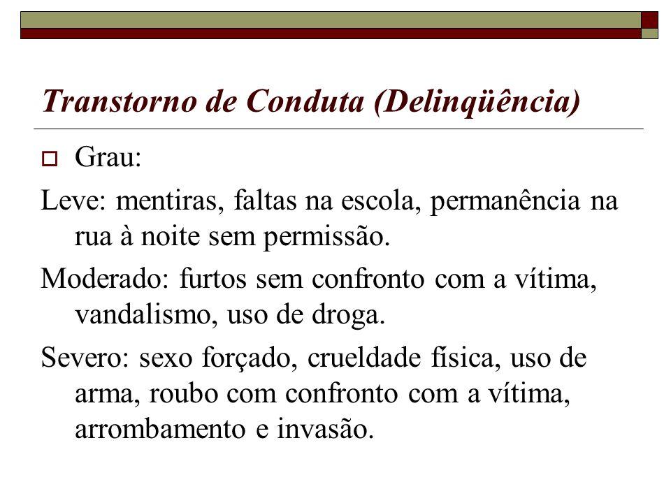 Transtorno de Conduta (Delinqüência) Grau: Leve: mentiras, faltas na escola, permanência na rua à noite sem permissão. Moderado: furtos sem confronto
