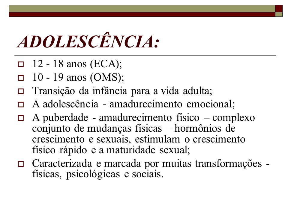 ADOLESCÊNCIA: 12 - 18 anos (ECA); 10 - 19 anos (OMS); Transição da infância para a vida adulta; A adolescência - amadurecimento emocional; A puberdade