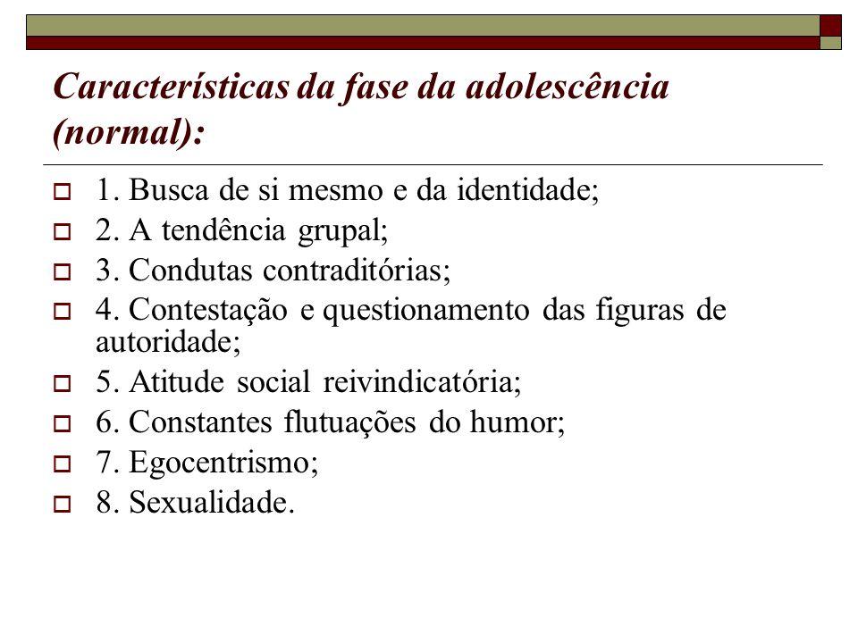 Características da fase da adolescência (normal): 1. Busca de si mesmo e da identidade; 2. A tendência grupal; 3. Condutas contraditórias; 4. Contesta
