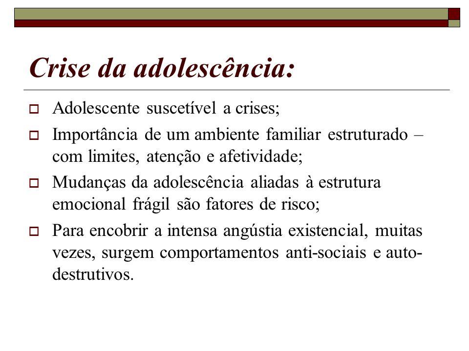 Crise da adolescência: Adolescente suscetível a crises; Importância de um ambiente familiar estruturado – com limites, atenção e afetividade; Mudanças