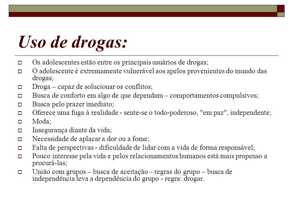 Uso de drogas: Os adolescentes estão entre os principais usuários de drogas; O adolescente é extremamente vulnerável aos apelos provenientes do mundo