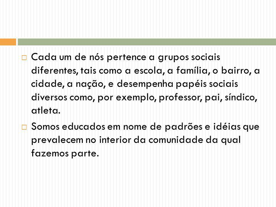 Cada um de nós pertence a grupos sociais diferentes, tais como a escola, a família, o bairro, a cidade, a nação, e desempenha papéis sociais diversos