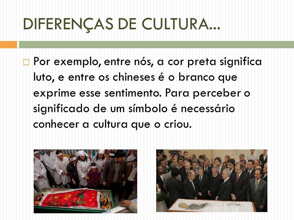DIFERENÇAS DE CULTURA... Por exemplo, entre nós, a cor preta significa luto, e entre os chineses é o branco que exprime esse sentimento. Para perceber