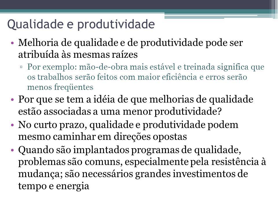 Qualidade e produtividade Melhoria de qualidade e de produtividade pode ser atribuída às mesmas raízes Por exemplo: mão-de-obra mais estável e treinad
