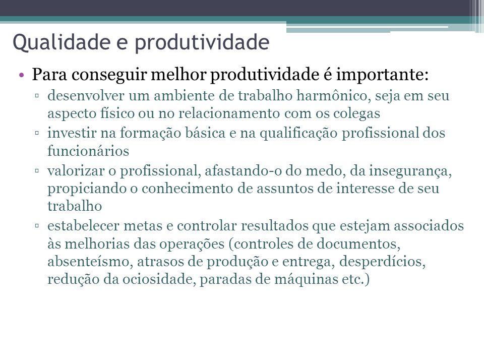 Qualidade e produtividade Para conseguir melhor produtividade é importante: desenvolver um ambiente de trabalho harmônico, seja em seu aspecto físico