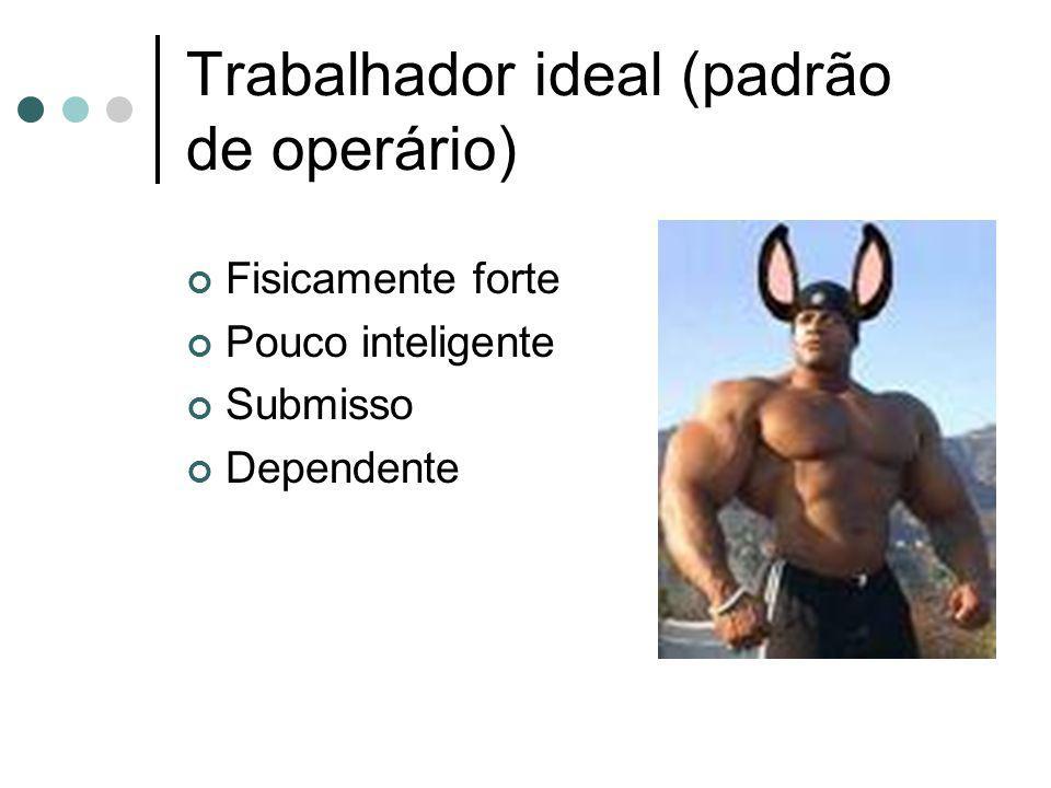 Trabalhador ideal (padrão de operário) Fisicamente forte Pouco inteligente Submisso Dependente
