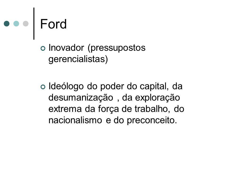 Ford Inovador (pressupostos gerencialistas) Ideólogo do poder do capital, da desumanização, da exploração extrema da força de trabalho, do nacionalism
