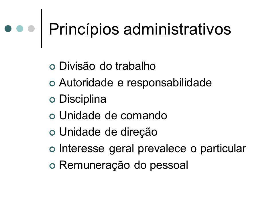 Princípios administrativos Divisão do trabalho Autoridade e responsabilidade Disciplina Unidade de comando Unidade de direção Interesse geral prevalec