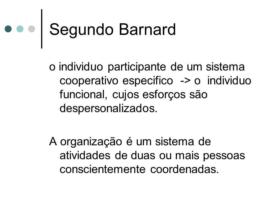 Segundo Barnard o individuo participante de um sistema cooperativo especifico -> o individuo funcional, cujos esforços são despersonalizados. A organi