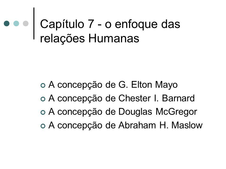 Capítulo 7 - o enfoque das relações Humanas A concepção de G. Elton Mayo A concepção de Chester I. Barnard A concepção de Douglas McGregor A concepção