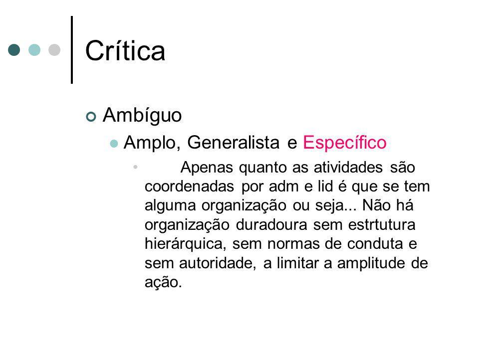 Crítica Ambíguo Amplo, Generalista e Específico Apenas quanto as atividades são coordenadas por adm e lid é que se tem alguma organização ou seja... N