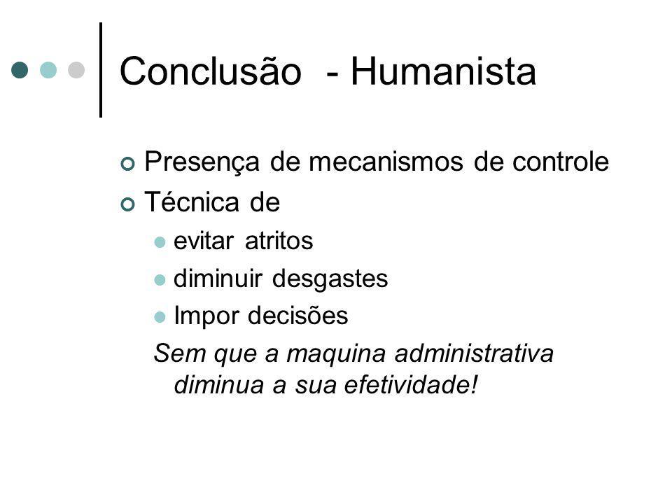Conclusão - Humanista Presença de mecanismos de controle Técnica de evitar atritos diminuir desgastes Impor decisões Sem que a maquina administrativa