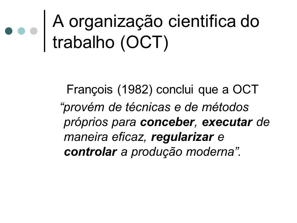 A organização cientifica do trabalho (OCT) François (1982) conclui que a OCT provém de técnicas e de métodos próprios para conceber, executar de manei