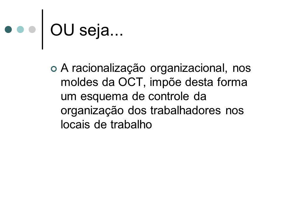 OU seja... A racionalização organizacional, nos moldes da OCT, impõe desta forma um esquema de controle da organização dos trabalhadores nos locais de