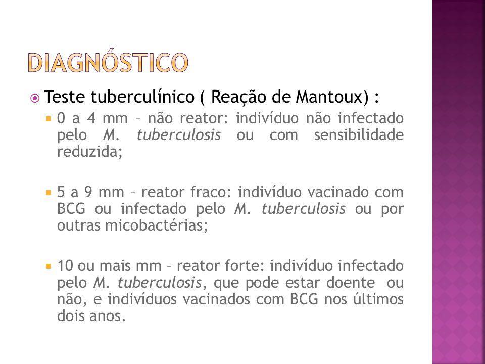 Teste tuberculínico ( Reação de Mantoux) : 0 a 4 mm – não reator: indivíduo não infectado pelo M. tuberculosis ou com sensibilidade reduzida; 5 a 9 mm