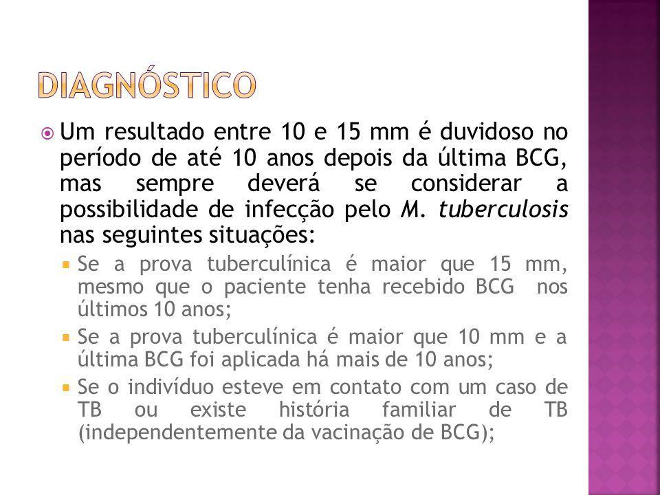 Um resultado entre 10 e 15 mm é duvidoso no período de até 10 anos depois da última BCG, mas sempre deverá se considerar a possibilidade de infecção p