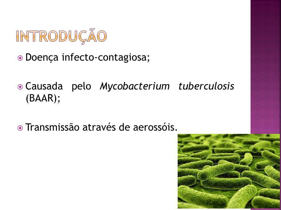 Doença infecto-contagiosa; Causada pelo Mycobacterium tuberculosis (BAAR); Transmissão através de aerossóis.