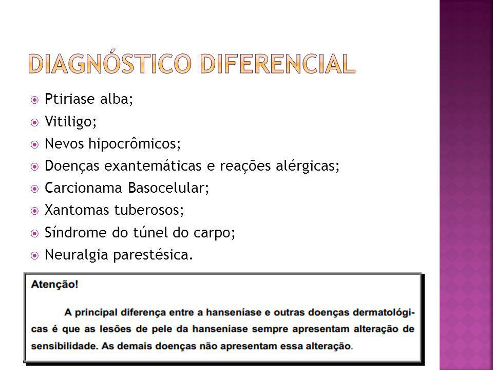 Ptiriase alba; Vitiligo; Nevos hipocrômicos; Doenças exantemáticas e reações alérgicas; Carcionama Basocelular; Xantomas tuberosos; Síndrome do túnel