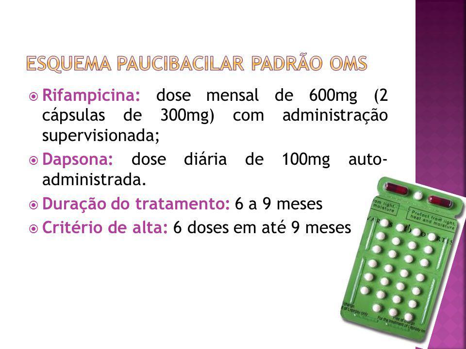 Rifampicina: dose mensal de 600mg (2 cápsulas de 300mg) com administração supervisionada; Dapsona: dose diária de 100mg auto- administrada. Duração do