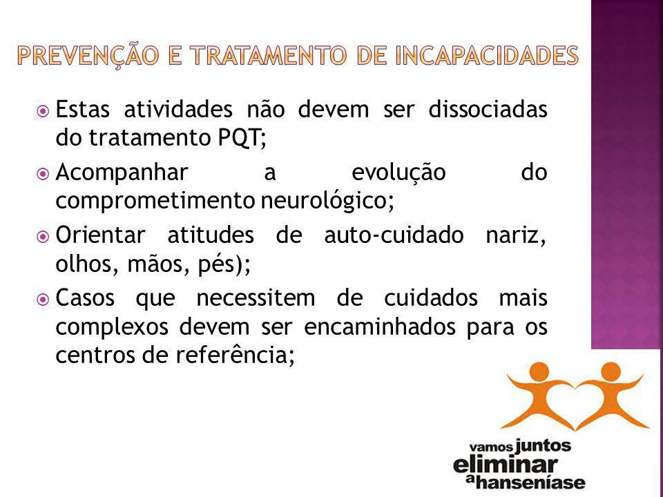 Estas atividades não devem ser dissociadas do tratamento PQT; Acompanhar a evolução do comprometimento neurológico; Orientar atitudes de auto-cuidado