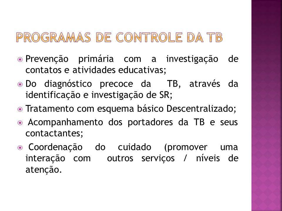 Prevenção primária com a investigação de contatos e atividades educativas; Do diagnóstico precoce da TB, através da identificação e investigação de SR