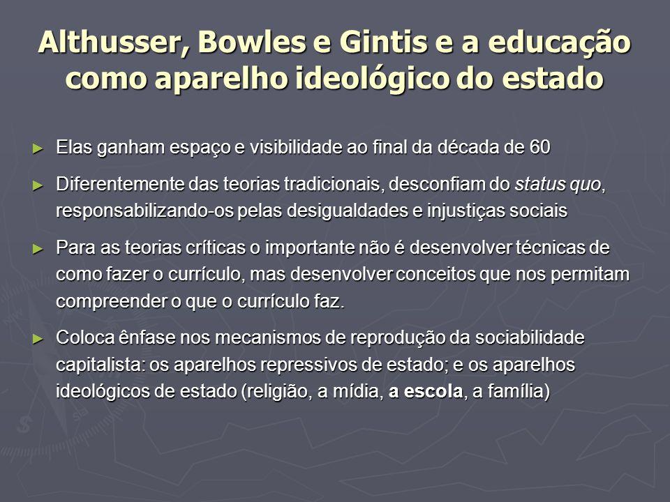 Althusser, Bowles e Gintis e a educação como aparelho ideológico do estado Elas ganham espaço e visibilidade ao final da década de 60 Elas ganham espa