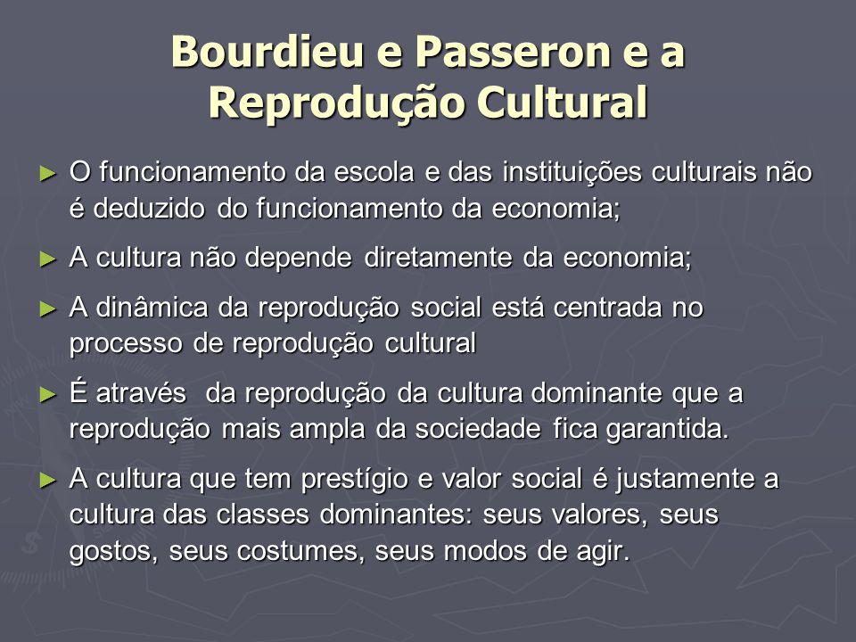 Bourdieu e Passeron e a Reprodução Cultural O funcionamento da escola e das instituições culturais não é deduzido do funcionamento da economia; O func