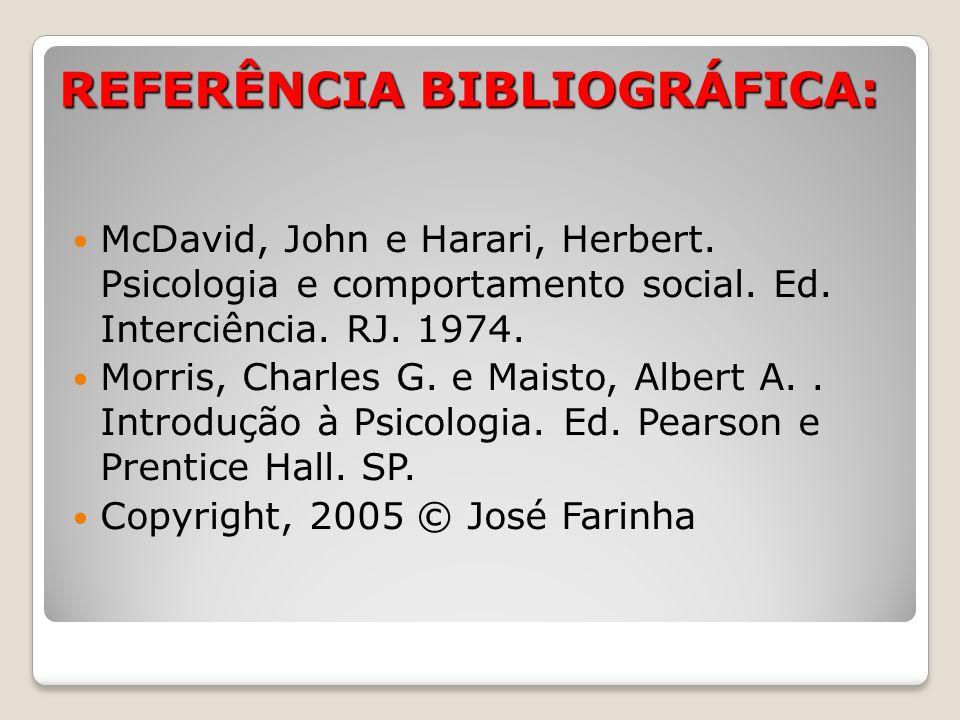 REFERÊNCIA BIBLIOGRÁFICA: McDavid, John e Harari, Herbert. Psicologia e comportamento social. Ed. Interciência. RJ. 1974. Morris, Charles G. e Maisto,