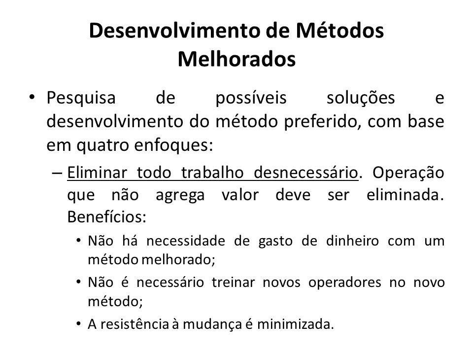 Pesquisa de possíveis soluções e desenvolvimento do método preferido, com base em quatro enfoques: – Eliminar todo trabalho desnecessário. Operação qu