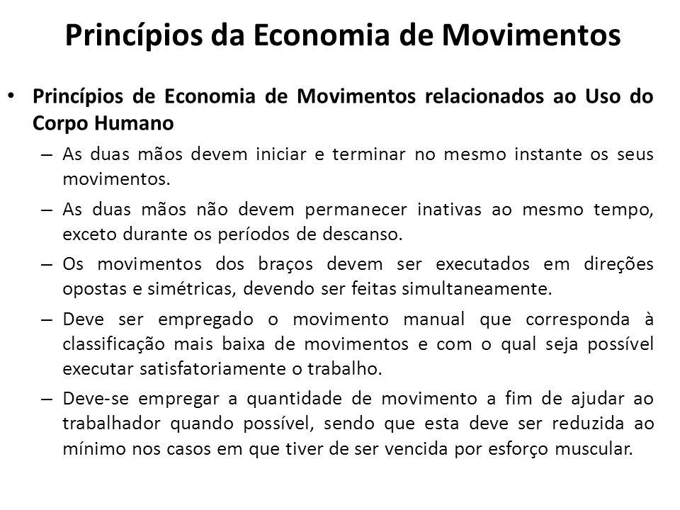 Princípios de Economia de Movimentos relacionados ao Uso do Corpo Humano – As duas mãos devem iniciar e terminar no mesmo instante os seus movimentos.