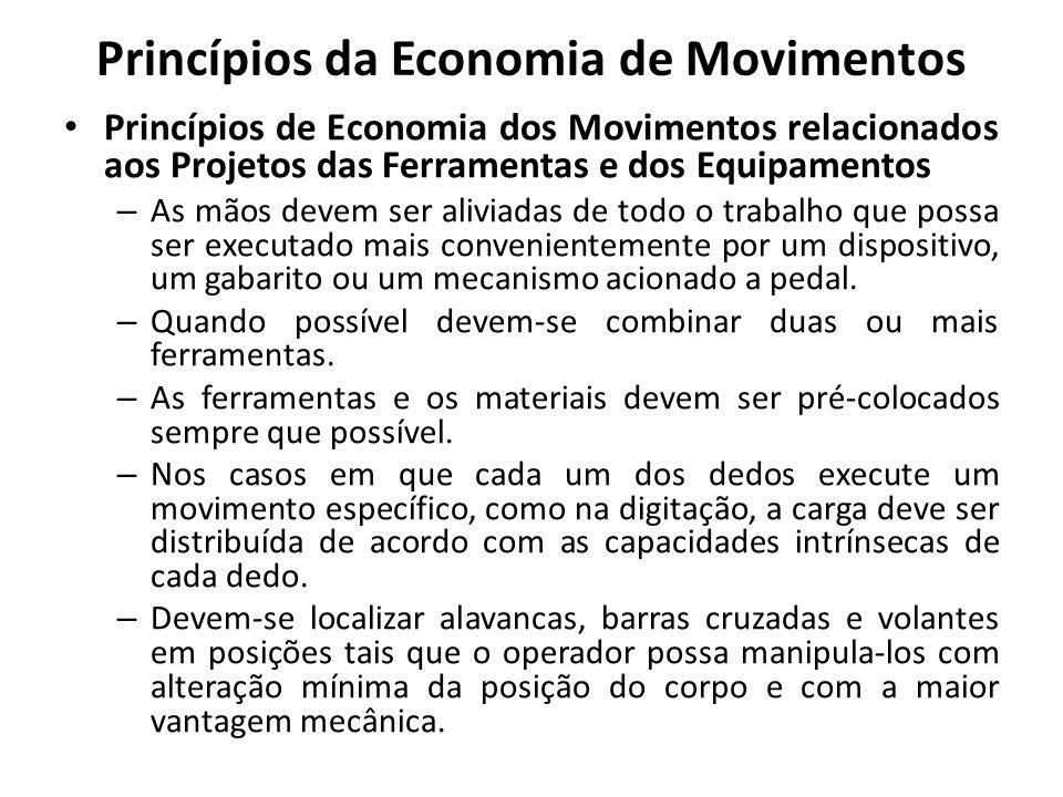 Princípios de Economia dos Movimentos relacionados aos Projetos das Ferramentas e dos Equipamentos – As mãos devem ser aliviadas de todo o trabalho qu