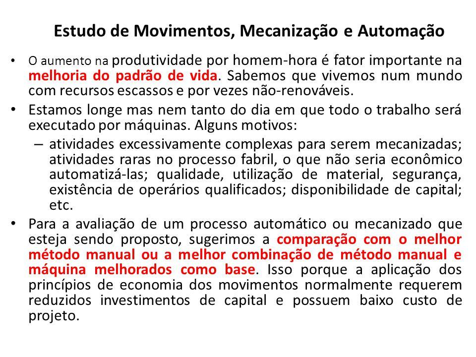 Estudo de Movimentos, Mecanização e Automação O aumento na produtividade por homem-hora é fator importante na melhoria do padrão de vida. Sabemos que