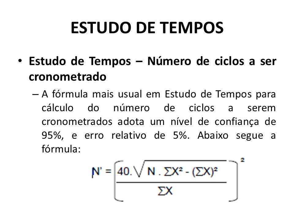 Estudo de Tempos – Número de ciclos a ser cronometrado – A fórmula mais usual em Estudo de Tempos para cálculo do número de ciclos a serem cronometrados adota um nível de confiança de 95%, e erro relativo de 5%.