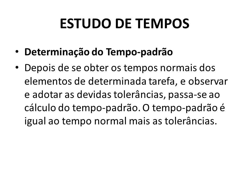 Determinação do Tempo-padrão Depois de se obter os tempos normais dos elementos de determinada tarefa, e observar e adotar as devidas tolerâncias, passa-se ao cálculo do tempo-padrão.
