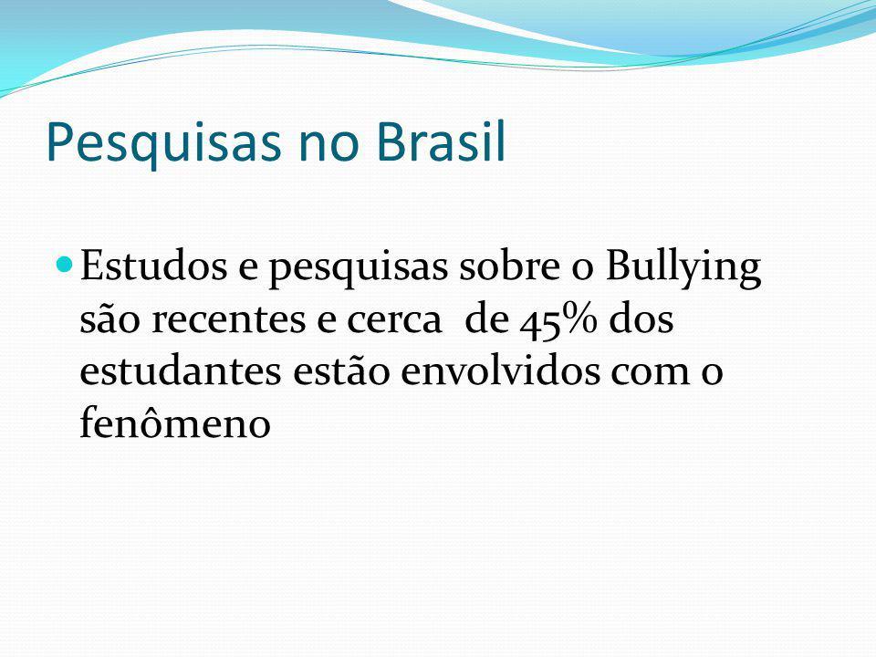 Pesquisas no Brasil Estudos e pesquisas sobre o Bullying são recentes e cerca de 45% dos estudantes estão envolvidos com o fenômeno