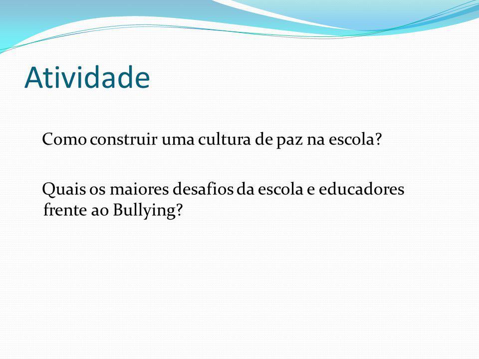 Atividade Como construir uma cultura de paz na escola? Quais os maiores desafios da escola e educadores frente ao Bullying?