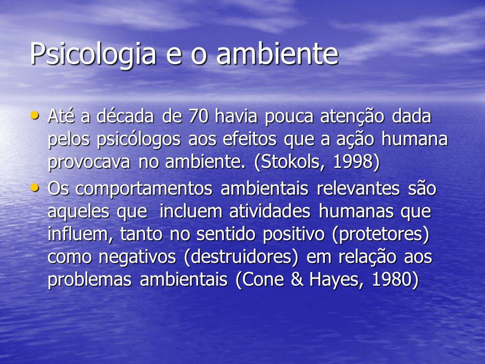 Psicologia e o ambiente Até a década de 70 havia pouca atenção dada pelos psicólogos aos efeitos que a ação humana provocava no ambiente. (Stokols, 19