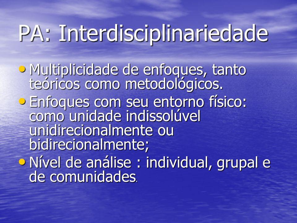 PA: Interdisciplinariedade Multiplicidade de enfoques, tanto teóricos como metodológicos. Multiplicidade de enfoques, tanto teóricos como metodológico