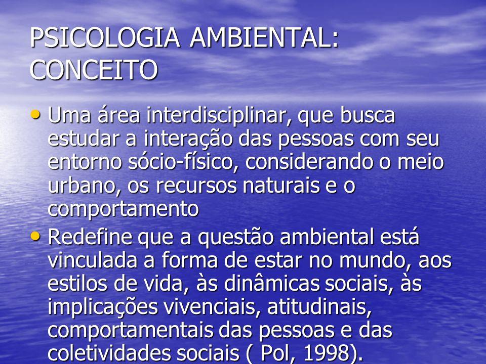 DEFINIÇÃO DE PSICOLOGIA AMBIENTAL (VARELA) DEFINIÇÃO DE PSICOLOGIA AMBIENTAL (VARELA) Disciplina que tem por objeto o estudo e a compreensão dos processos psicossociais derivados das relações, interações e transações entre as pessoas, grupos sociais e comunidades e seus entornos sóciofísicos.