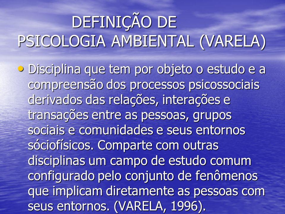 DEFINIÇÃO DE PSICOLOGIA AMBIENTAL (VARELA) DEFINIÇÃO DE PSICOLOGIA AMBIENTAL (VARELA) Disciplina que tem por objeto o estudo e a compreensão dos proce