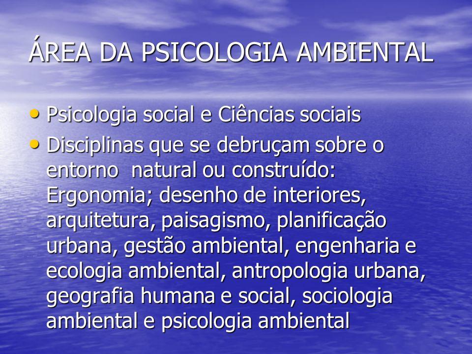 ÁREA DA PSICOLOGIA AMBIENTAL Psicologia social e Ciências sociais Psicologia social e Ciências sociais Disciplinas que se debruçam sobre o entorno nat