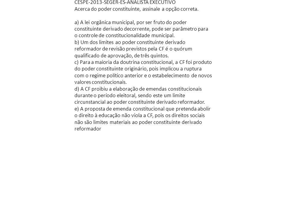 CESPE-2013-SEGER-ES-ANALISTA EXECUTIVO Acerca do poder constituinte, assinale a opção correta. a) A lei orgânica municipal, por ser fruto do poder con