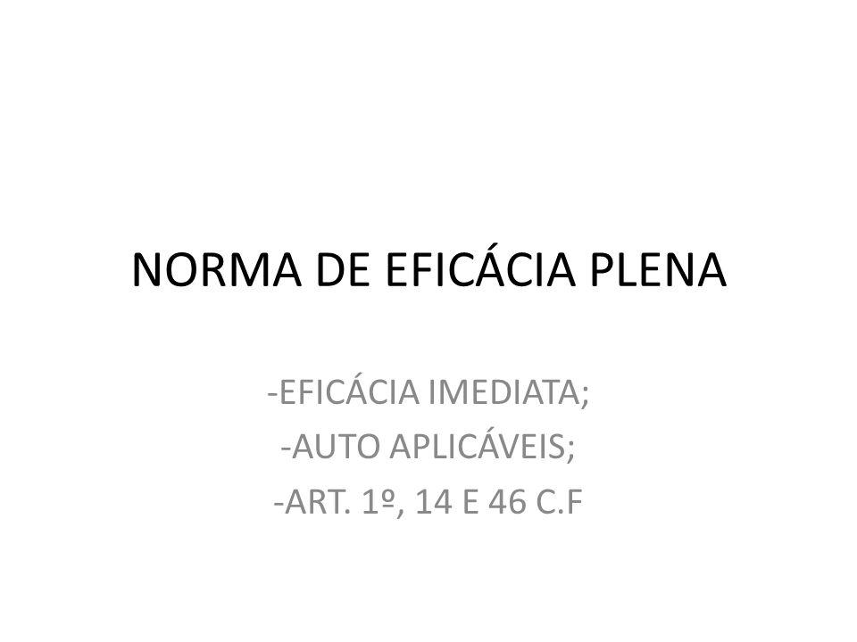 NORMA DE EFICÁCIA PLENA -EFICÁCIA IMEDIATA; -AUTO APLICÁVEIS; -ART. 1º, 14 E 46 C.F