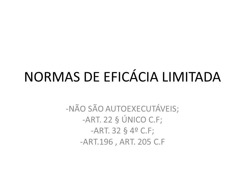 NORMAS DE EFICÁCIA LIMITADA -NÃO SÃO AUTOEXECUTÁVEIS; -ART. 22 § ÚNICO C.F; -ART. 32 § 4º C.F; -ART.196, ART. 205 C.F