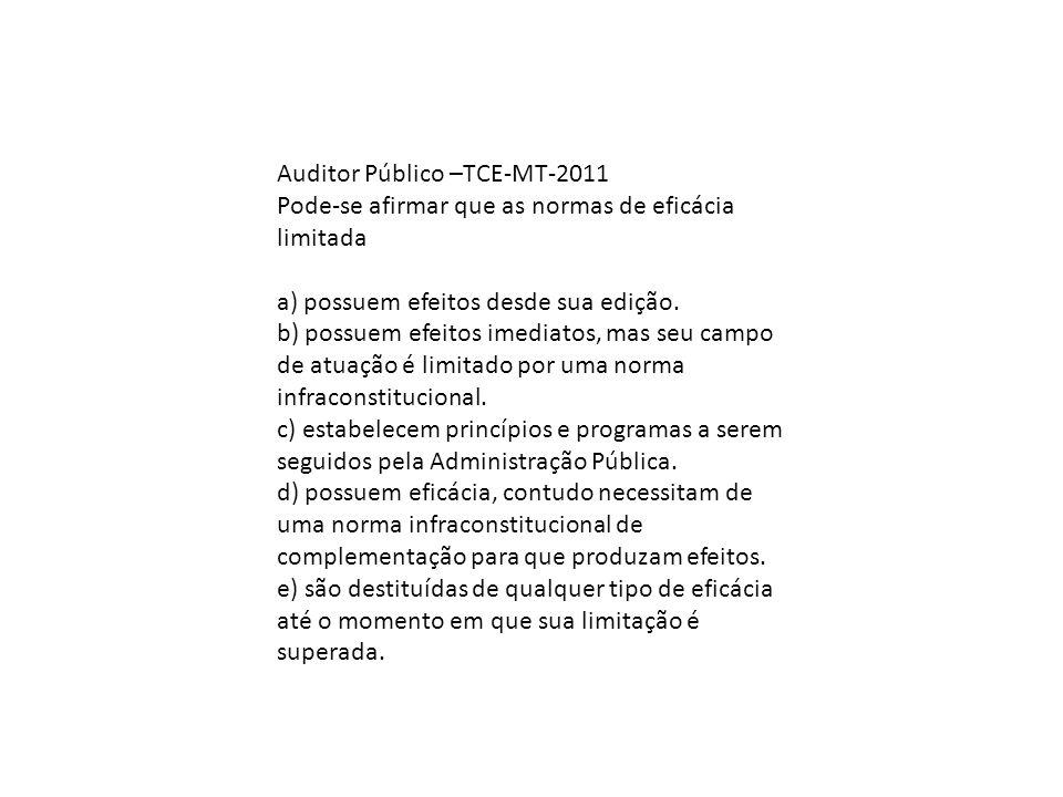 Auditor Público –TCE-MT-2011 Pode-se afirmar que as normas de eficácia limitada a) possuem efeitos desde sua edição. b) possuem efeitos imediatos, mas