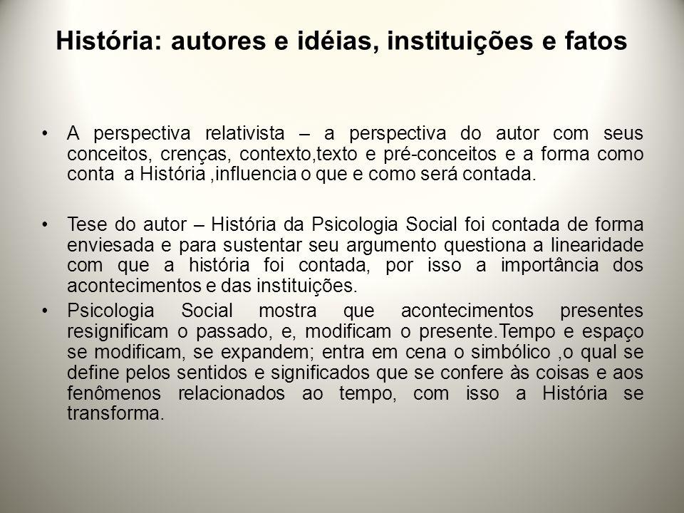 O autor destaca três pontos 1º ponto:O Repúdio Positivista de Wundt; 2º ponto:História contada nos cursos de Psicologia: 3º ponto:Influência de determinados fatos e instituições para a compreensão do desenvolvimento da História.
