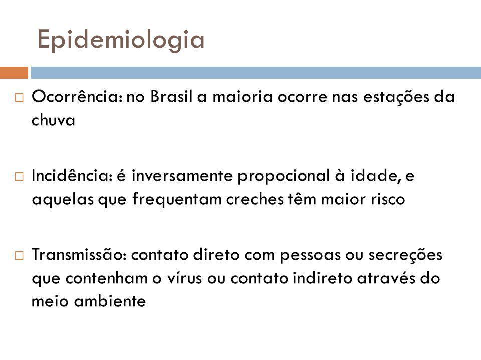Epidemiologia Ocorrência: no Brasil a maioria ocorre nas estações da chuva Incidência: é inversamente propocional à idade, e aquelas que frequentam creches têm maior risco Transmissão: contato direto com pessoas ou secreções que contenham o vírus ou contato indireto através do meio ambiente