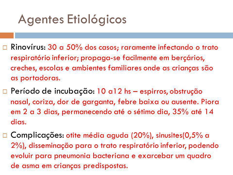 Agentes Etiológicos Rinovírus: 30 a 50% dos casos; raramente infectando o trato respiratório inferior; propaga-se facilmente em berçários, creches, escolas e ambientes familiares onde as crianças são as portadoras.