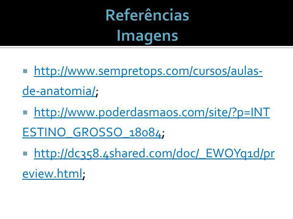 http://www.sempretops.com/cursos/aulas- de-anatomia/; http://www.poderdasmaos.com/site/?p=INT ESTINO_GROSSO_18084; http://dc358.4shared.com/doc/_EWOYq1d/pr eview.html;