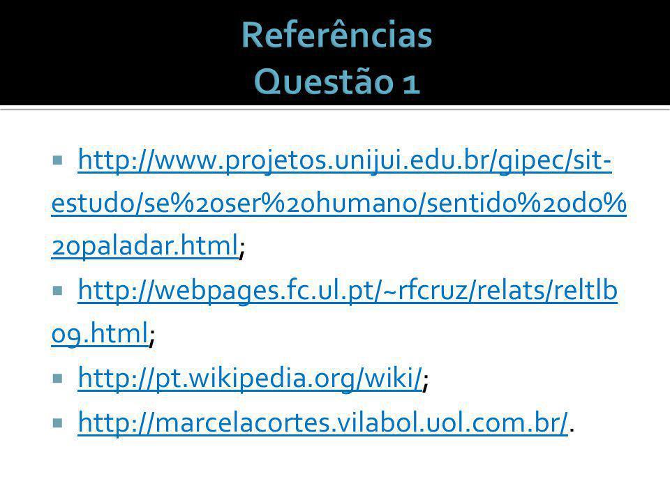 http://www.projetos.unijui.edu.br/gipec/sit- estudo/se%20ser%20humano/sentido%20do% 20paladar.html; http://webpages.fc.ul.pt/~rfcruz/relats/reltlb 09.html; http://pt.wikipedia.org/wiki/; http://marcelacortes.vilabol.uol.com.br/.